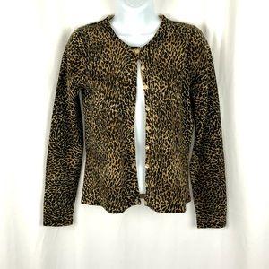 Rena Rowan Cheetah mother of pearl button cardi SP